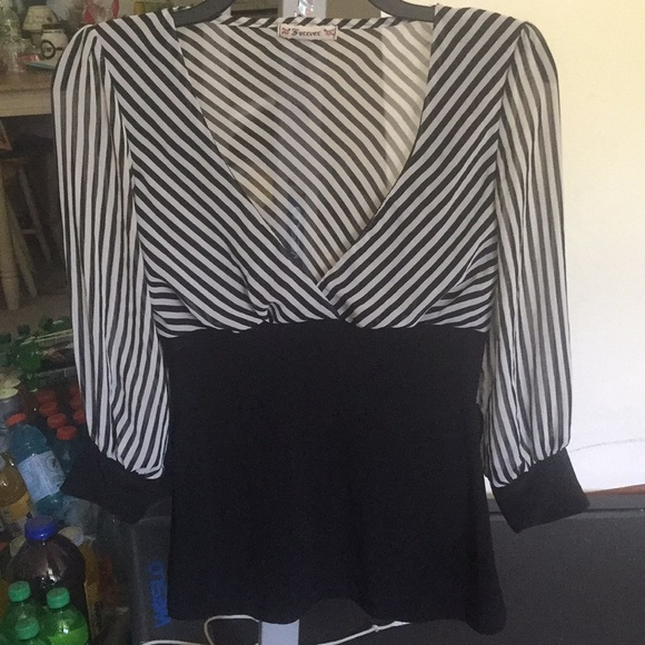 Forever Tops - Forever Black/White 3/4 Slv Blouse M